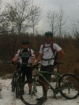 Rob & Cal in the snow at the top of Elevator